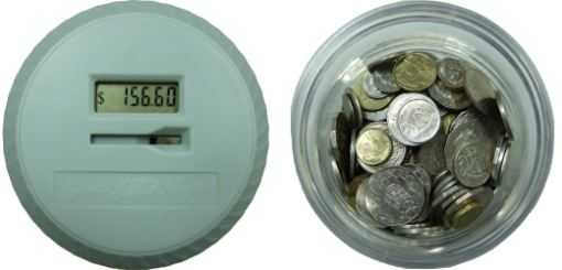 Automatic Coin Counter - top view showing LCD Display and jar with coins