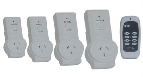 Efergy Standby Eliminator (RF Remote Controlled Power Switch) showing 4 receivers and remote control