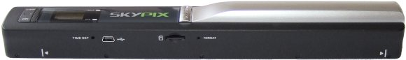 Skypix Portable Scanner - elevated left hand view showing micro SD slot