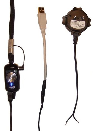 Philips SHB7100 Bluetooth Earphone connected to custom made USB charging cable. The original discarded noisy power supply is on the right.