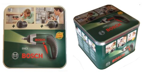 The metal container that the Bosch IXO III Cordless Screwdriver comes packaged in