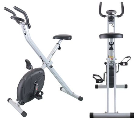 Confidence Foldable Exercise Bike - front isometric view and rear view