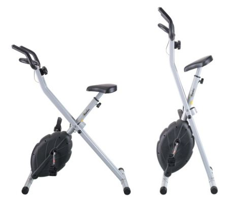 The Confidence Stow-A-Bike Foldable Exercise Bike - unfolded position on left, folded position on right